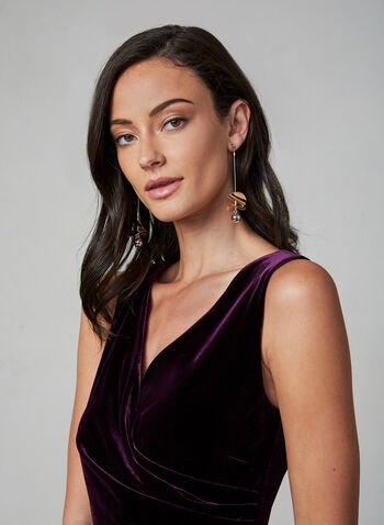 Alex Evenings - Draped Velvet Dress, Purple, hi-res,  fall winter 2019, velvet, sleeveless, long dress, gown, surplice neckline