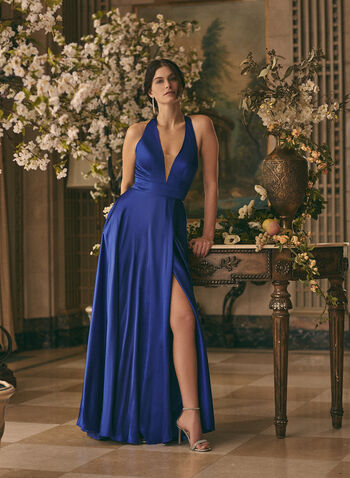 V-Neck Mesh Insert Dress, Blue,  prom dress, gown, a-line, v-neck, mesh, full length, train, pockets, open back, satin, spring summer 2021