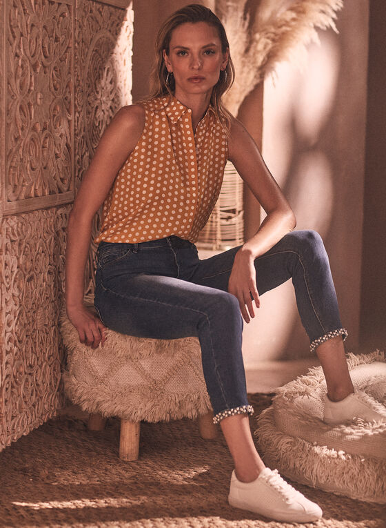 Embellished Cuff Slim Leg Jeans, Blue
