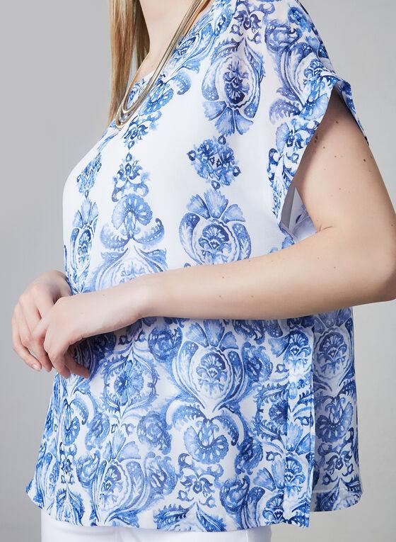 Blouse en mousseline à motif tapisserie, Bleu, hi-res