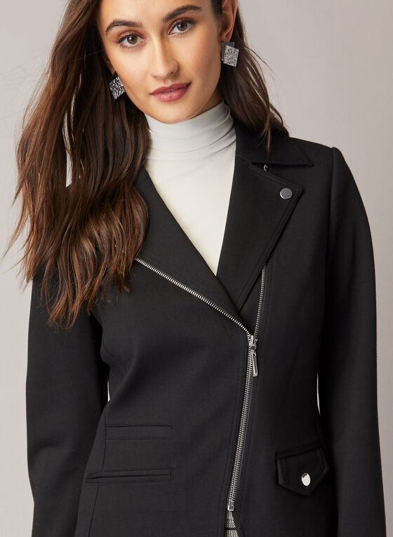 Blazer à zip asymétrique et col cranté, Noir