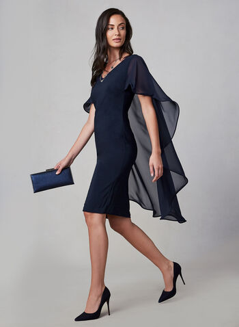 Frank Lyman - Jersey Cape Dress, Blue, hi-res,  fall winter 2019, made in Canada, sleeveless, cape, chiffon, sheath