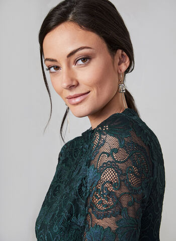 Kensie - 3/4 Sleeve Lace Dress , Green,  dress, Kensie, midi length, keyhole, 3/4 sleeve, illusion neckline, lace, fall 2019