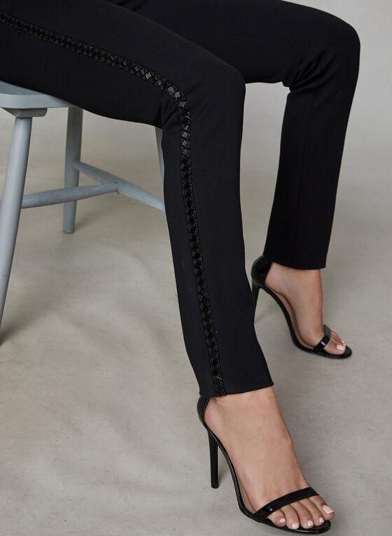 Beaded Trim Slim Leg Pants, Black