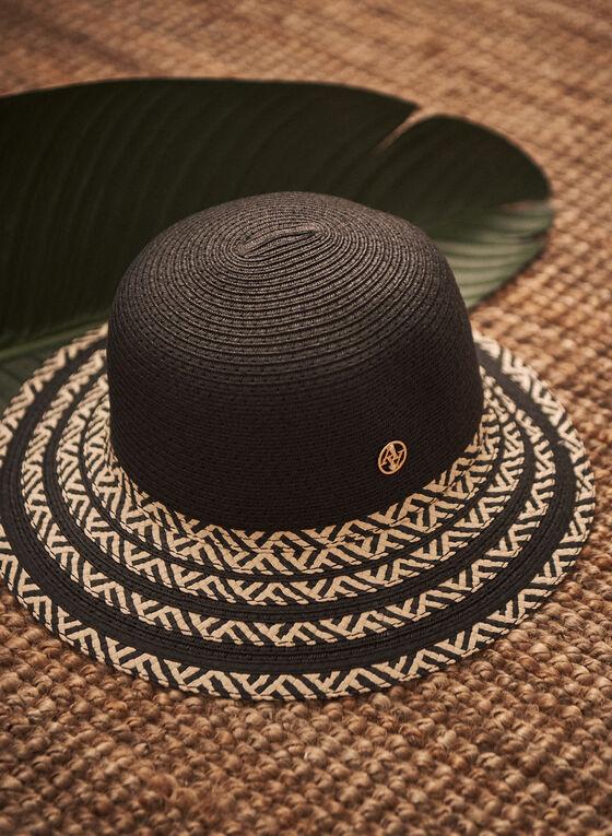 Striped Brim Straw Hat, Black