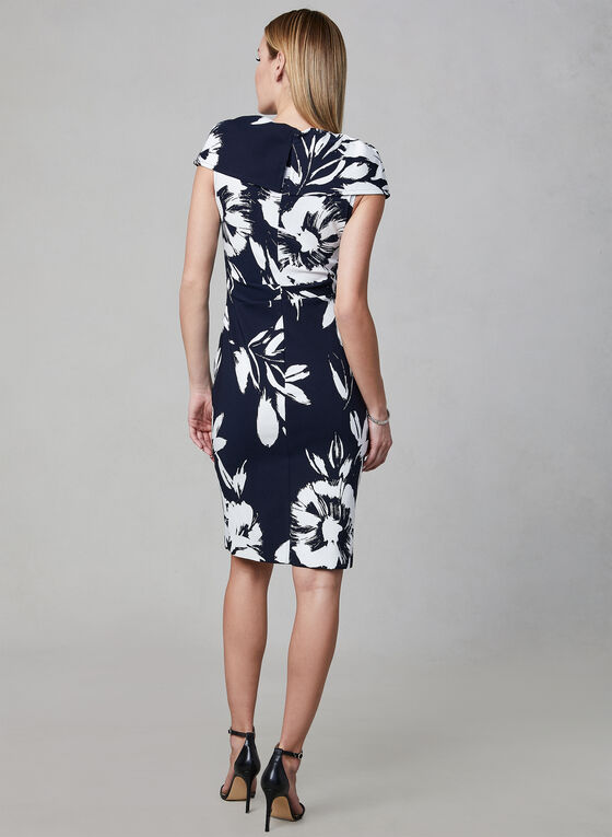 Joseph Ribkoff - Floral Print Zipper Dress, Blue