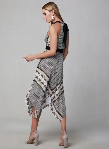 Abstract Print Halter Dress, Black, hi-res,  day dress, halter neck, chiffon, asymmetrical hemline, spring 2019