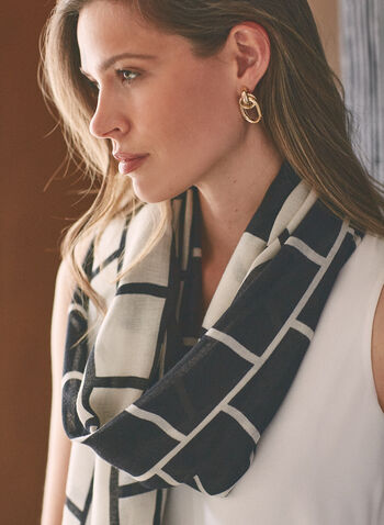 Brick Pattern Lightweight Scarf, Black,  accessories, scarf, lightweight, contrast, 2-tone, brick, spring summer 2021