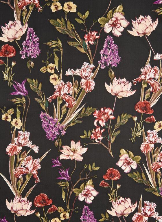 Foulard carré à motifs fleur et animalier, Noir, hi-res