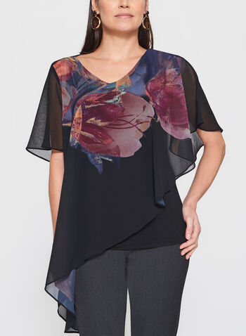 Floral Print Asymmetric Poncho Top, Green, hi-res
