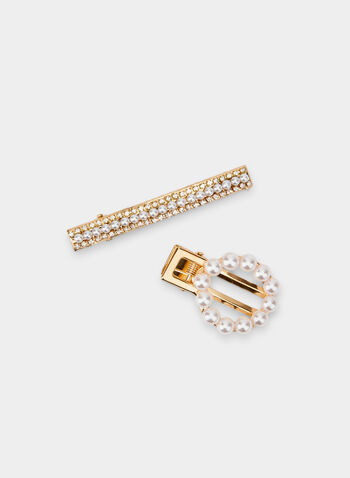 Pearl Hair Clip Set, Off White, hi-res,  pearl, metallic, crystals, fall 2019, winter 2019