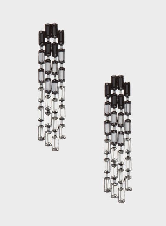 Pendants d'oreilles de verre dégradé en cascade, Noir, hi-res