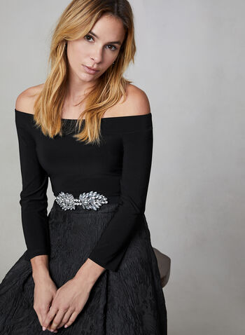 Off-the-Shoulder Top, Black, hi-res,  Canada, top, jersey, 3/4 sleeves, off-the-shoulder, fall 2019, winter 2019