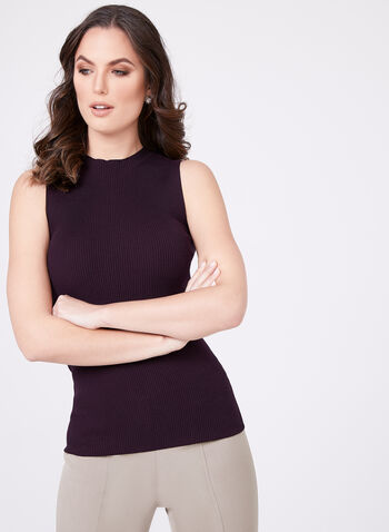 Sleeveless Mock Turtleneck Sweater, Purple, hi-res