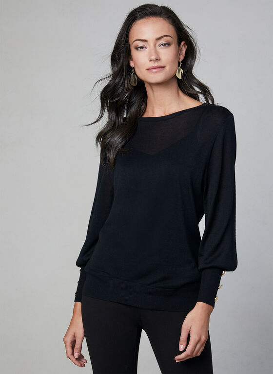 Long Sleeve Lightweight Sweater, Black, hi-res