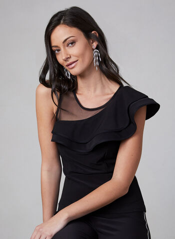 Frank Lyman - Asymmetrical Ruffle Top, Black,  Canada, Frank Lyman, top, ruffle, mesh, sleeveless, fall 2019, winter 2019
