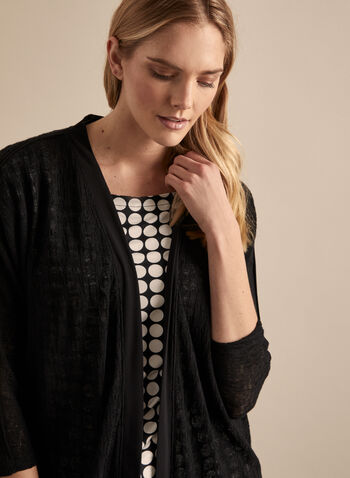 Dolman Sleeve Open Front Top, Black,  top, open, dolman sleeves, 3/4 sleeves, mesh, knit jersey, spring summer 2020