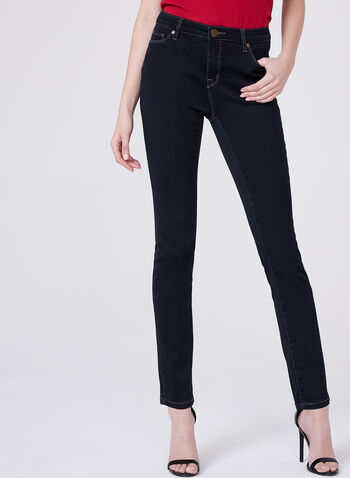 Slim Leg 5-Pocket Jeans , Blue, hi-res