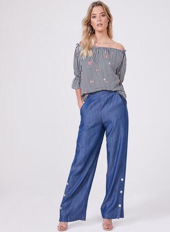 Pantalon aspect denim à jambe large et boutons, Bleu, hi-res