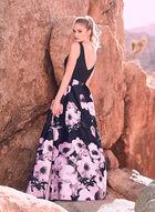 BA Nites - Floral Print Ball Gown, Blue, hi-res