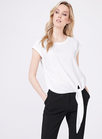 Sleeveless Tie Detail Blouse, Off White, hi-res