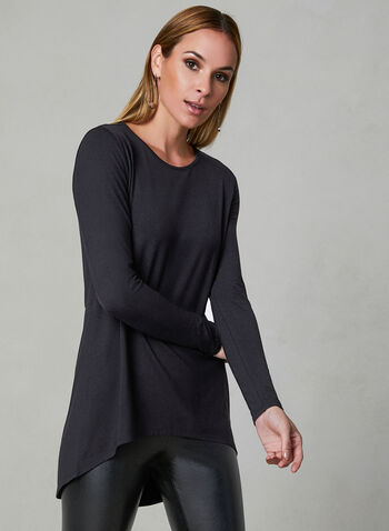 Long Sleeve Capelet Top, Black, hi-res