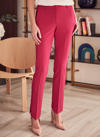 Giselle Slit Hem Pants, Pink,  pants, giselle, slim leg, high rise, ankle, pleats, slits, stretchy, spring summer 2021