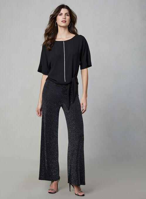 Pantalon métallisé à jambe large, Noir