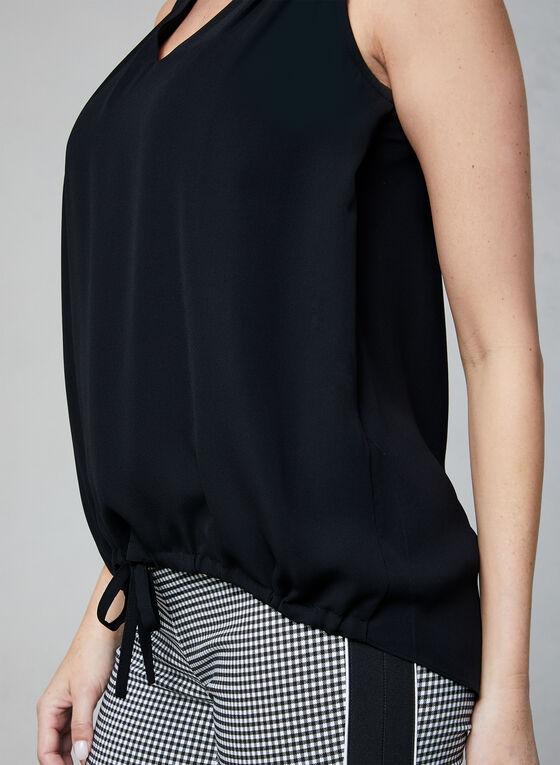 Tie Detail Sleeveless Top, Black, hi-res