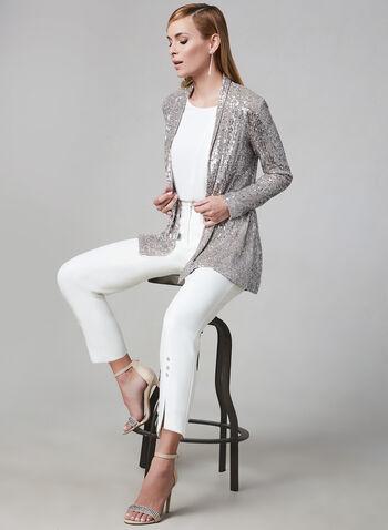 Frank Lyman - Pantalon fendu avec cristaux, Blanc cassé, hi-res