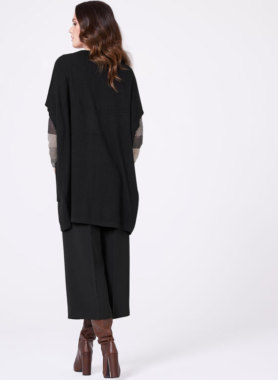 Dolman Sleeve Open Front Cardigan, Black, hi-res