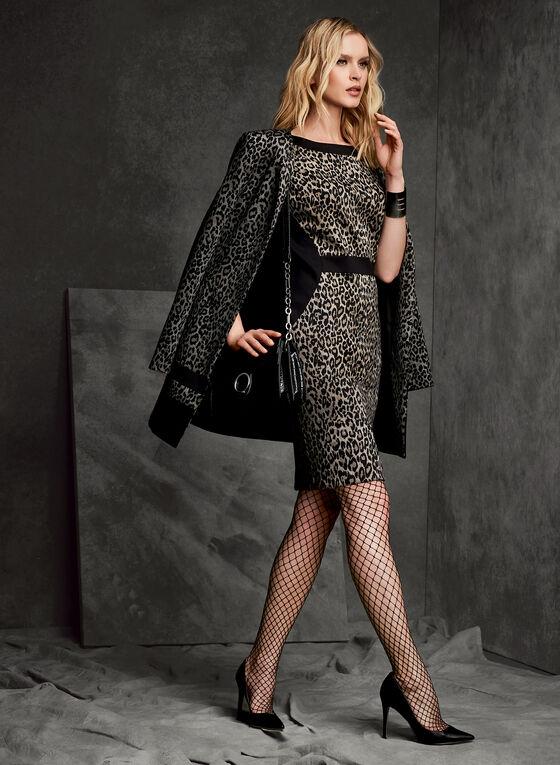 Robe fourreau à motif léopard, Noir, hi-res