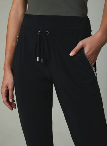 Joseph Ribkoff – Drawstring Cuff Detail Pants, Black, hi-res