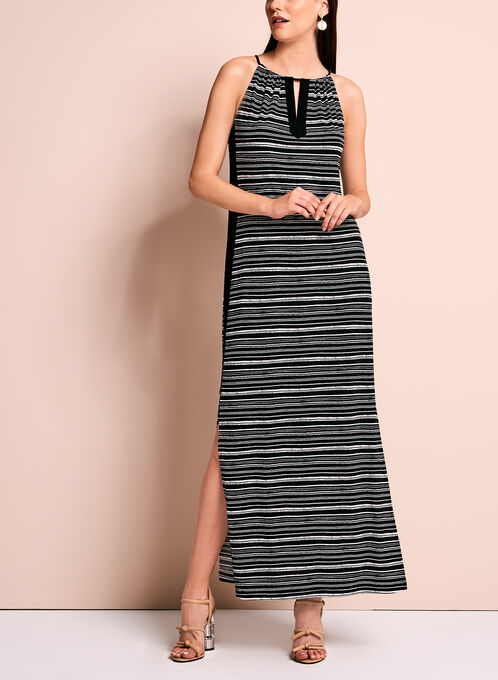 Stripe Print Jersey Maxi Dress, Black, hi-res