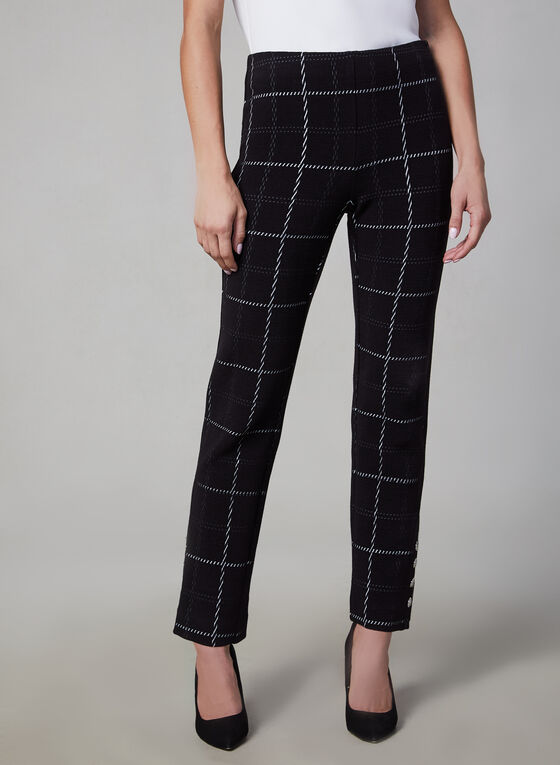 Amber Fit Windowpane Print Pants, Black, hi-res