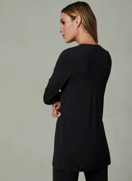 Asymmetric V-Neck Tunic, Black, hi-res