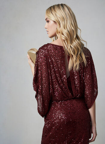 Marina - Sequin Dress, Red, hi-res,  Marina, dress, cocktail dress, sequin, kimono sleeves, blouson, fall 2019, winter 2019