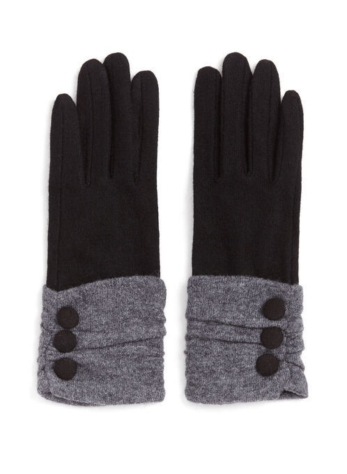 Gants en laine froncés avec boutons, Noir, hi-res