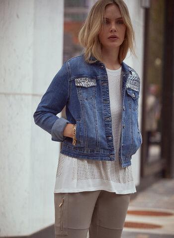 Veste en jean avec empiècement en sequins, Bleu,  veste, jeans, col chemisier, manches longues, boutons, cintré, poches à rabat, sequins, denim extensible, délavé, automne 2021