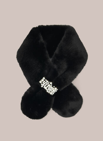 Faux Fur Pearl Detail Scarf, Black,  Fall winter 2020, faux fur, pearl, warm, scarf