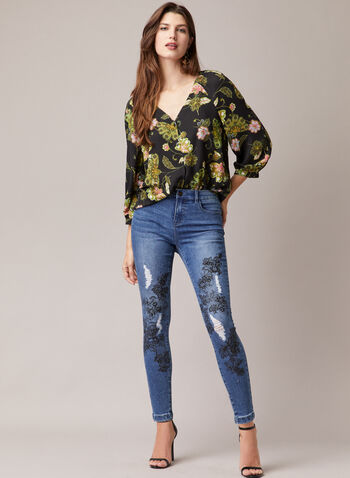 Floral Print Balloon Sleeve Blouse, Black,  blouse, balloon sleeves, chiffon, buttons, floral, spring summer 2020