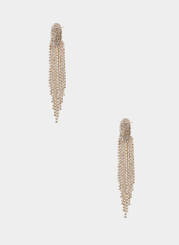 Crystal Cascade Earrings, Gold,  earrings, crystal, cascade, spring summer 2020