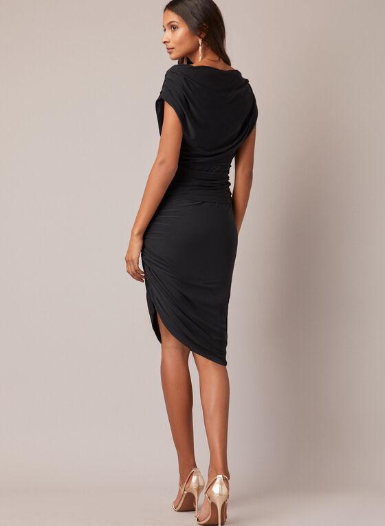 Draped Cocktail Dress, Black