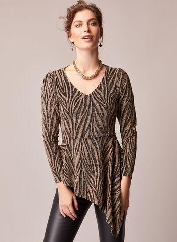 Asymmetric Animal Print Tunic, Black,  fall winter 2020, tunic, top, animal print, long sleeves, v-neck, holiday, holiday 2020, gift