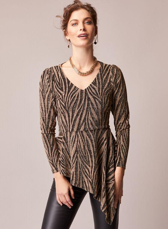 Asymmetric Animal Print Tunic, Black