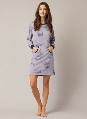 Printed Nightshirt, Grey,  fall winter 2020, nightshirt, pyjama, stripe print, long sleeve. pockets, sleepwear