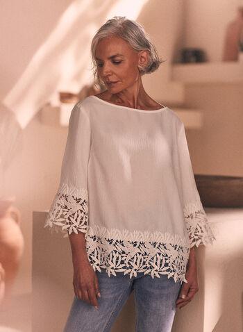 Joseph Ribkoff - Crochet Detail Blouse, White,  Spring Summer 2021, top, blouse, crochet details, boat neck, 3/4 sleeve, soft