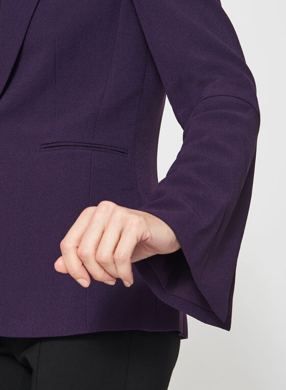 T Tahari - One-Button Bell Sleeve Crepe Blazer, Purple, hi-res