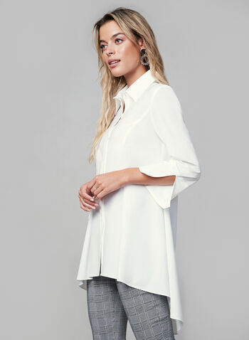 Joseph Ribkoff - Peplum Hem Button Down, White,  fall winter 2019, 3/4 sleeves, high-low hem, peplum hem, button down