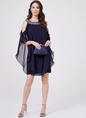 BA Nites - Beaded Collar Dress With Ruffle Chiffon Detail, Blue, hi-res